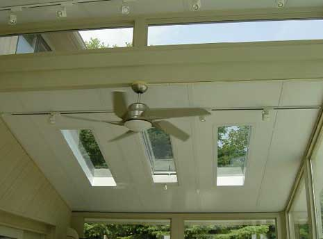 Interior of split roof design with fan