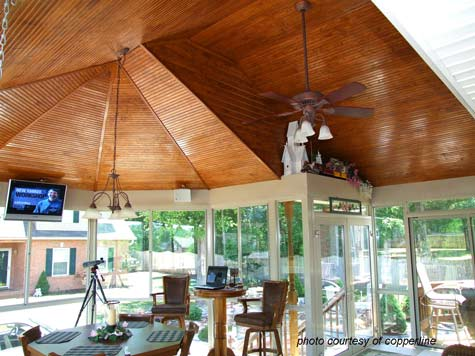 tongue and groove ceiling with outdoor fans