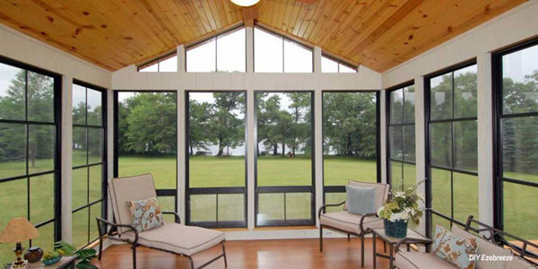 sunroom with tongue and groove ceiling