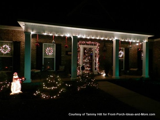 Tammy's Christmas porch all lit up