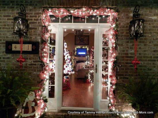 Tammy's front door decorated for Christmas