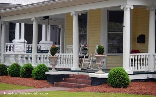 ionic porch columns and expansive front porch