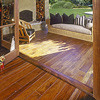 teak flooring on front porch