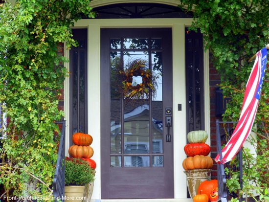 wispy autumn wreath on the front door