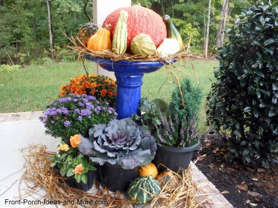 bird bath repurposed for autumn display