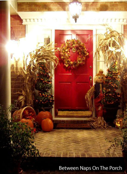 beautifully decorated front porch entrance for fall