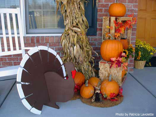 Thanksgiving Porch With Cute Turkey