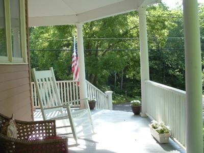 Stevens Great American Porch has a view of a stream below