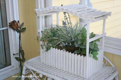 Easy decorating ideas - planter and wine bottle