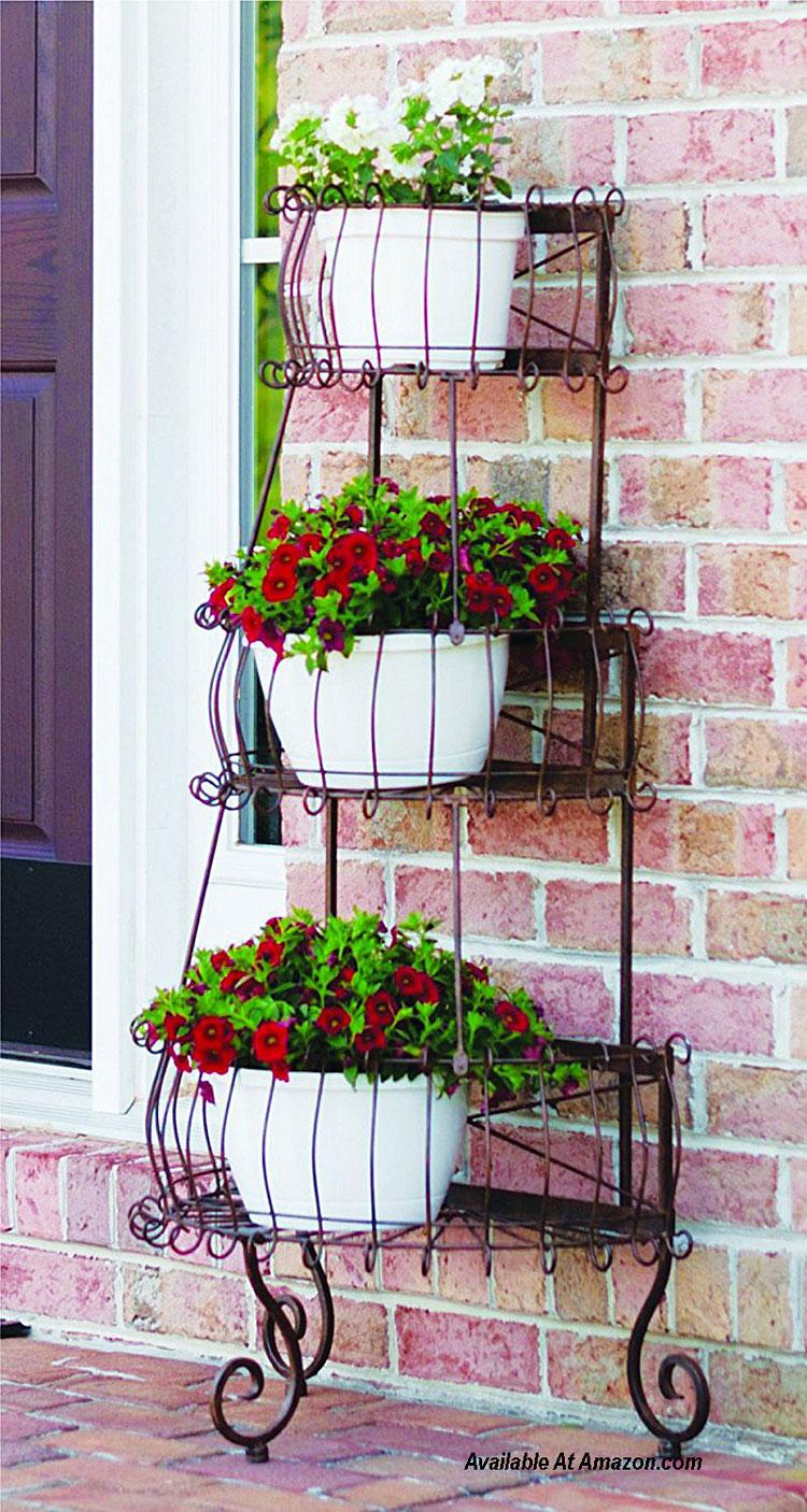 three tiered porch planter