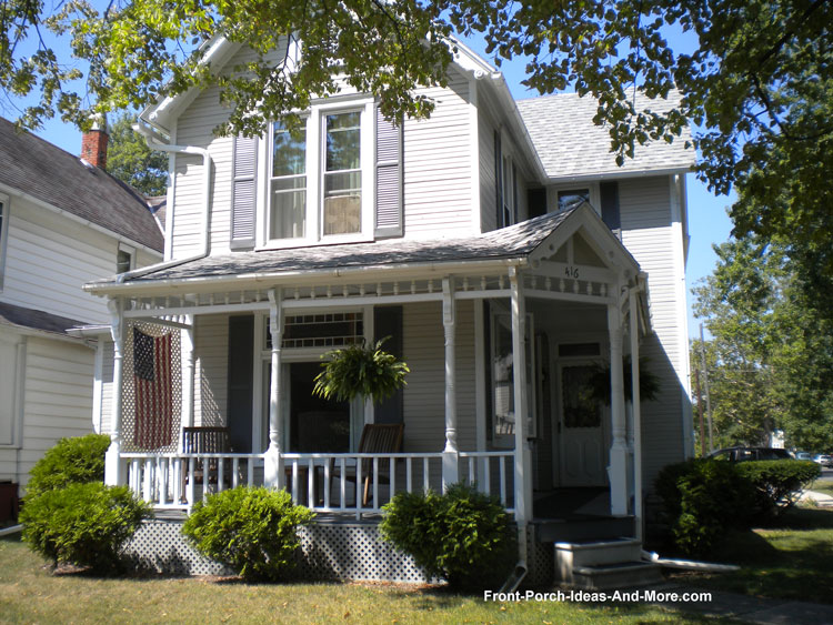 gabled front porch in Tiffin Ohio