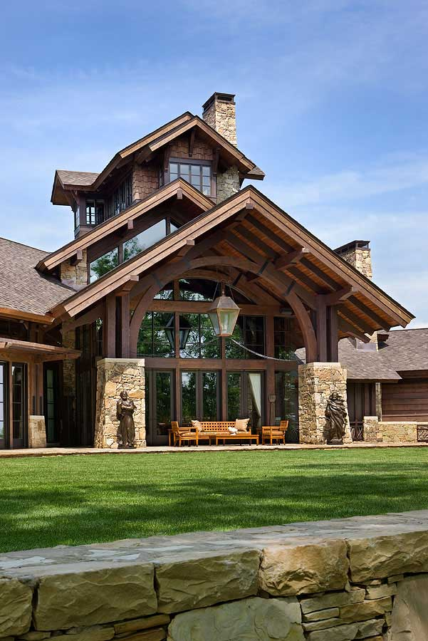 Timber frame home design log home pictures log home for Stone and wood house plans