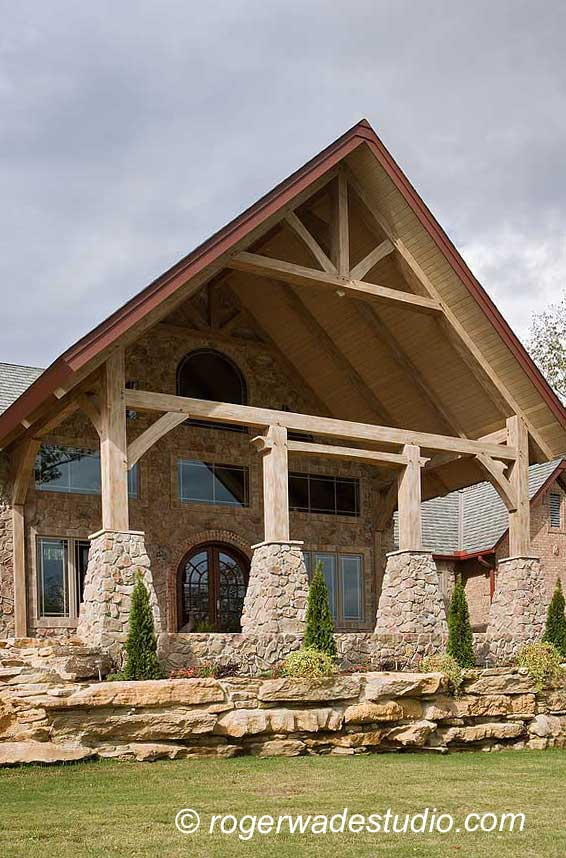 Timber frame home design log home pictures log home for Timber frame porch designs