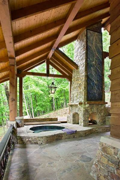 Exposed beams on ceiling of this porch