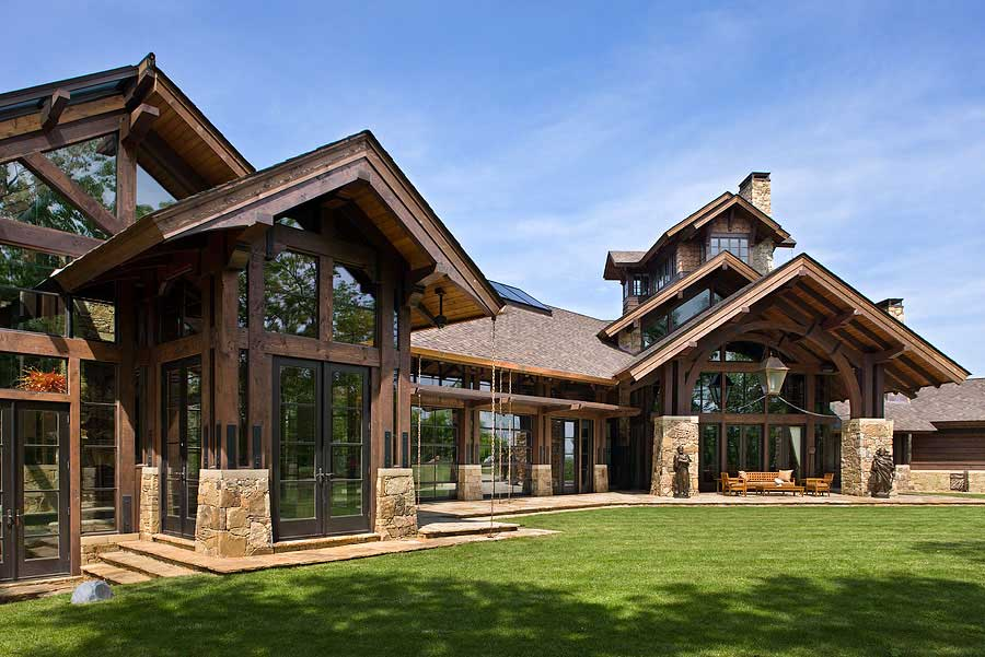 Timber frame home design log home pictures log home for Timber frame farmhouse plans