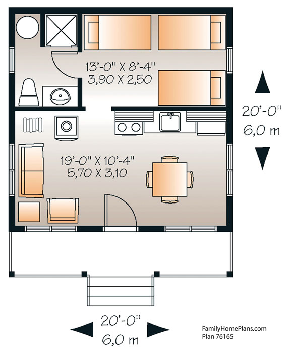 Tiny house floor plan 76165 by family home plans