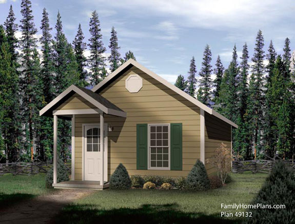 Tiny house design 49132 in the woods by familyhomeplans.com