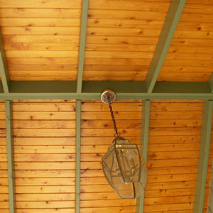 tongue and groove porch ceiling with hanging light