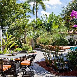 tropical-furniture on patio area