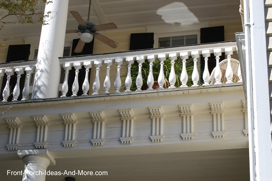 bulkier turned balusters on front porch