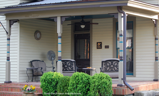 open porch with turned porch columns