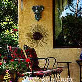 front porch decorated in tuscan style