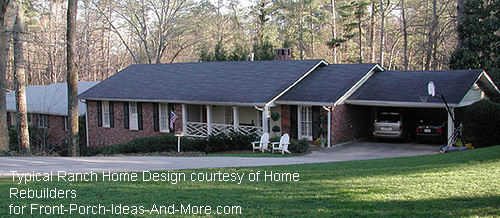 typical ranch home before front porch addition