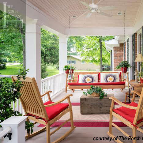 colorful cushions on beautiful front porch with porch swing - Front Porch Swing