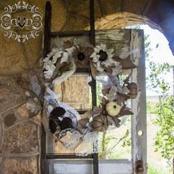 unique autumn wreath design on vintage door