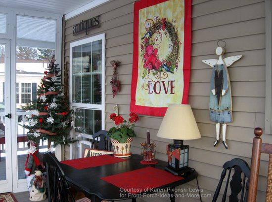 Karen's screened porch is ready for Valentine's Day