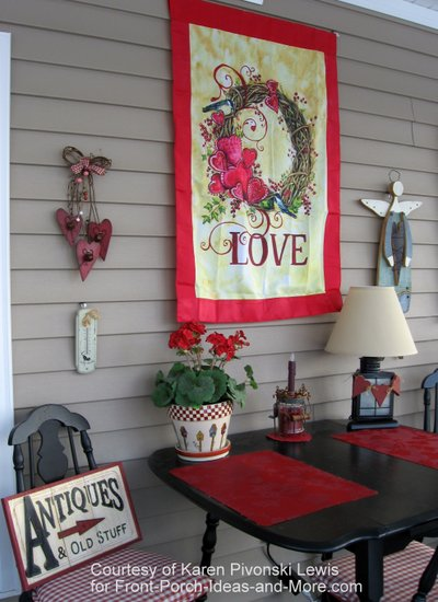 Karen's Valentine decorations on her porch