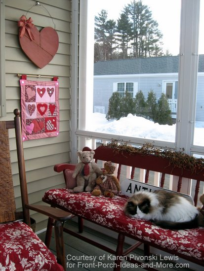 valentine decorated bench and walls of front enclosed porch