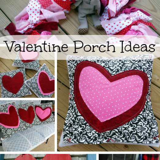 collage of valentine porch wreath