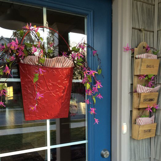 front door decorated for Valentines