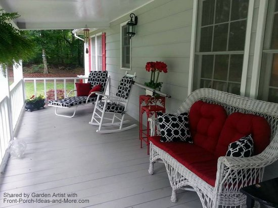 Valentine decorated porch with stunning red, black and white amenities