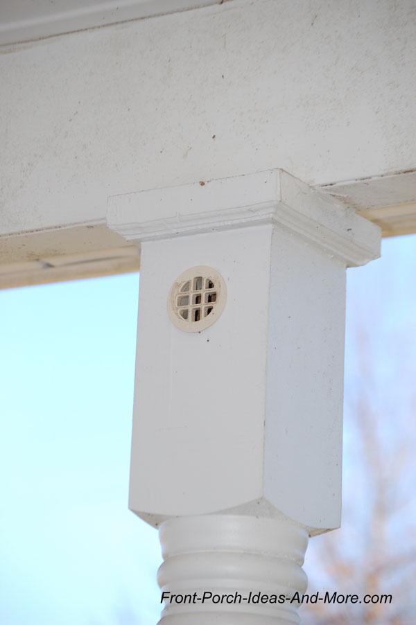 porch column with ventilation hole