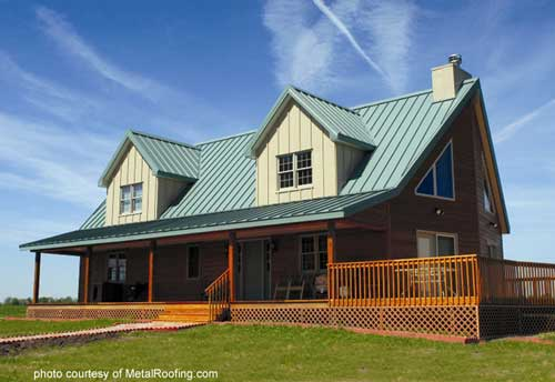 Metal Porch Roof - vertical panels on cape cod style home