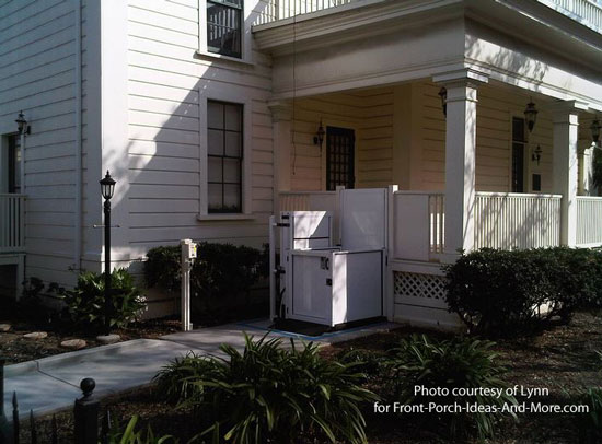 vertical porch lift attached to front porch