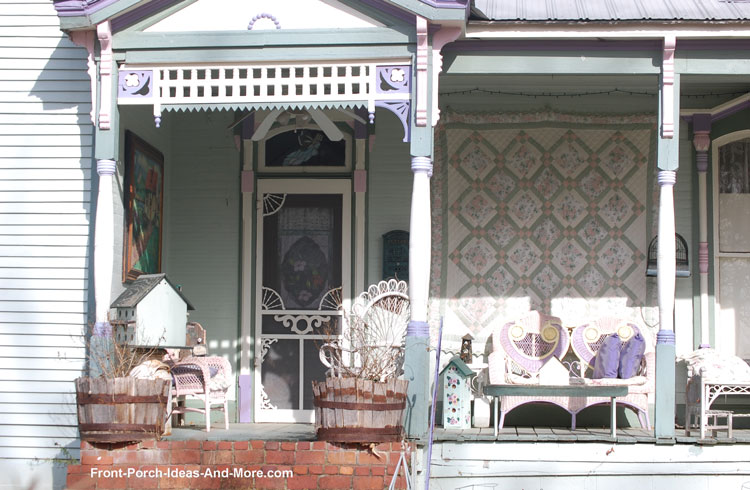 Victorian front porch with quilt wall hanging