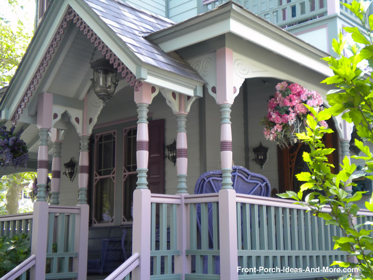 Victorian Style front porch in shades of lavender