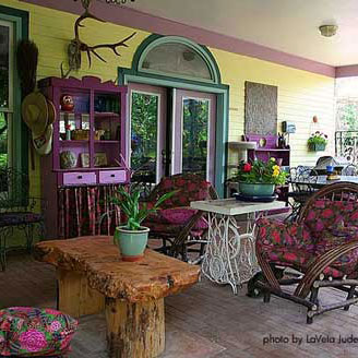 colorful Victorian Furniture on porch