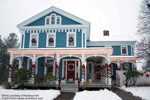 Christmas wreaths decorate this Victorian home