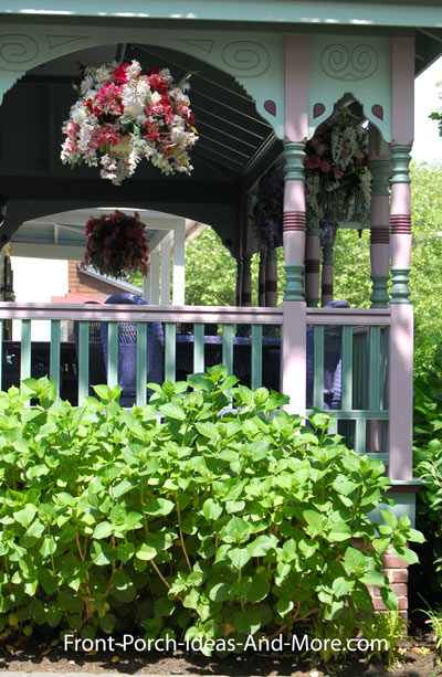 Victorian porch columns and hanging basket
