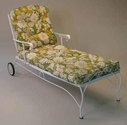 Vintage metal patio furniture with striped cushions