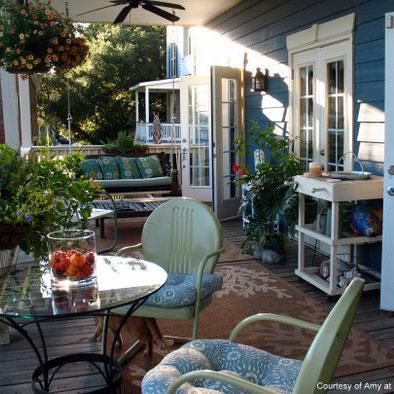 vintage furniture on front porch