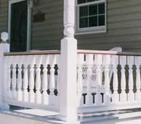 porch columns and railings on front porch