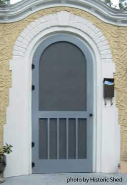 Gray screen door with rounded top