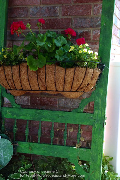 Thrifted vintage screen door as a planter