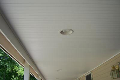 vinyl beadboard installed on porch ceiling