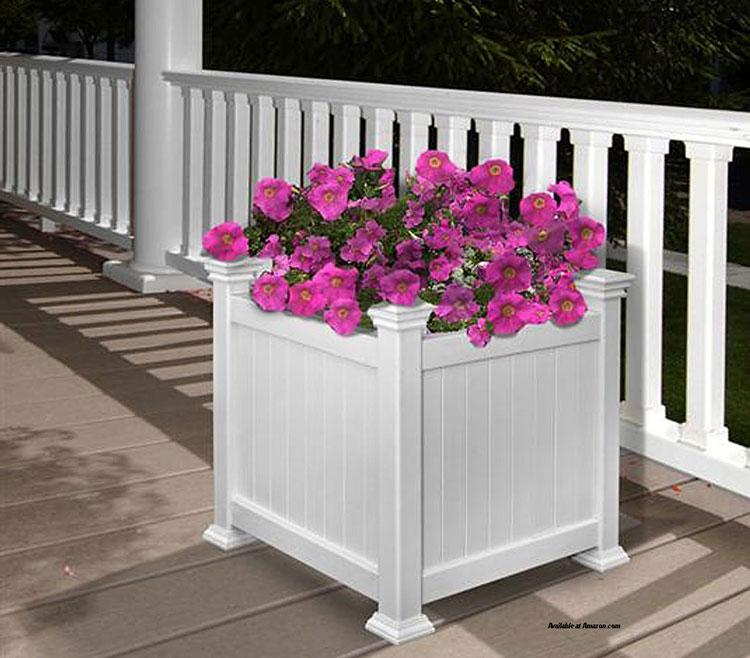 white vinyl porch planter